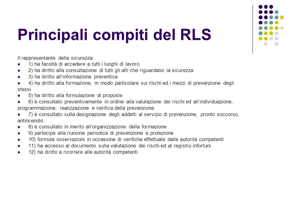Principali compiti del RLS Il rappresentante della sicurezza: 1) ha facoltà di accedere a tutti i luoghi di lavoro 2) ha diritto alla consultazione di
