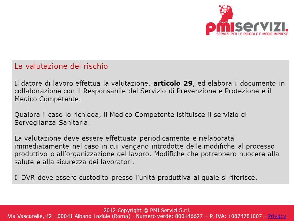 La valutazione del rischio Il datore di lavoro effettua la valutazione, articolo 29, ed elabora il documento in collaborazione con il Responsabile del Servizio di Prevenzione e Protezione e il Medico Competente.