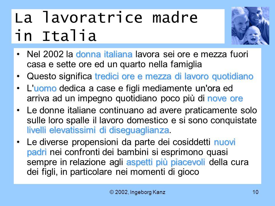 © 2002, Ingeborg Kanz10 La lavoratrice madre in Italia donna italianaNel 2002 la donna italiana lavora sei ore e mezza fuori casa e sette ore ed un qu