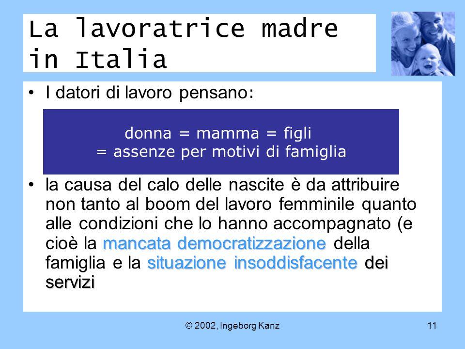 © 2002, Ingeborg Kanz11 La lavoratrice madre in Italia I datori di lavoro pensano : mancata democratizzazione situazione insoddisfacente dei servizila