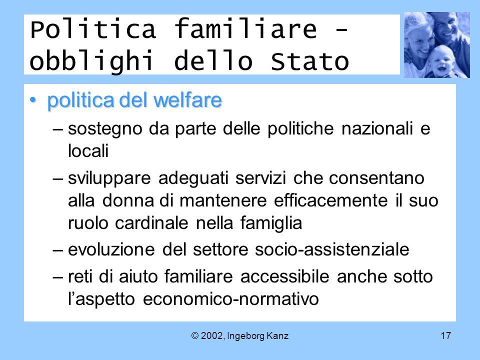 © 2002, Ingeborg Kanz17 Politica familiare - obblighi dello Stato politica del welfarepolitica del welfare –sostegno da parte delle politiche nazional