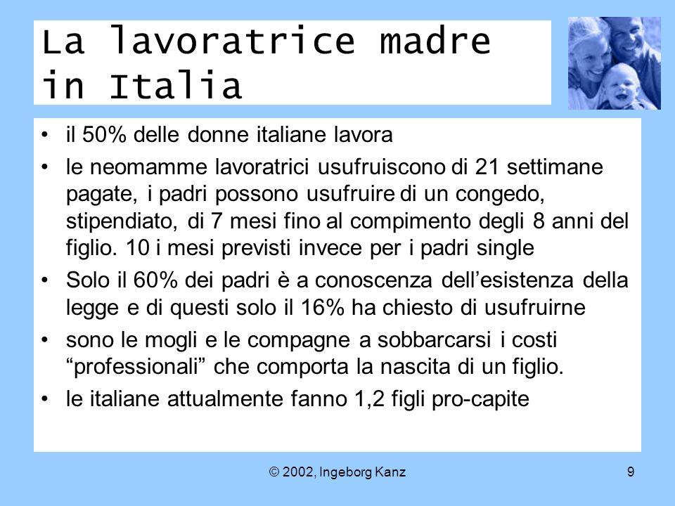 © 2002, Ingeborg Kanz9 La lavoratrice madre in Italia il 50% delle donne italiane lavora le neomamme lavoratrici usufruiscono di 21 settimane pagate, i padri possono usufruire di un congedo, stipendiato, di 7 mesi fino al compimento degli 8 anni del figlio.