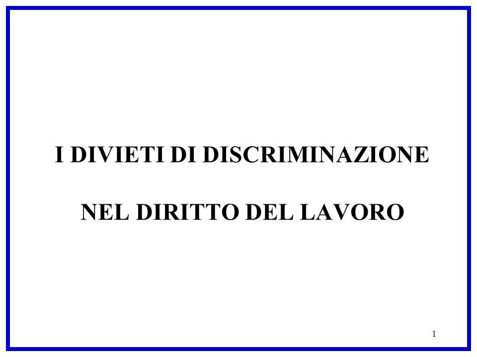 1 I DIVIETI DI DISCRIMINAZIONE NEL DIRITTO DEL LAVORO
