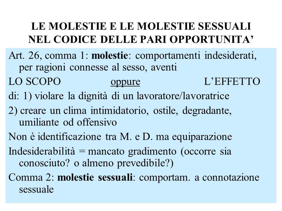 LE MOLESTIE E LE MOLESTIE SESSUALI NEL CODICE DELLE PARI OPPORTUNITA Art. 26, comma 1: molestie: comportamenti indesiderati, per ragioni connesse al s