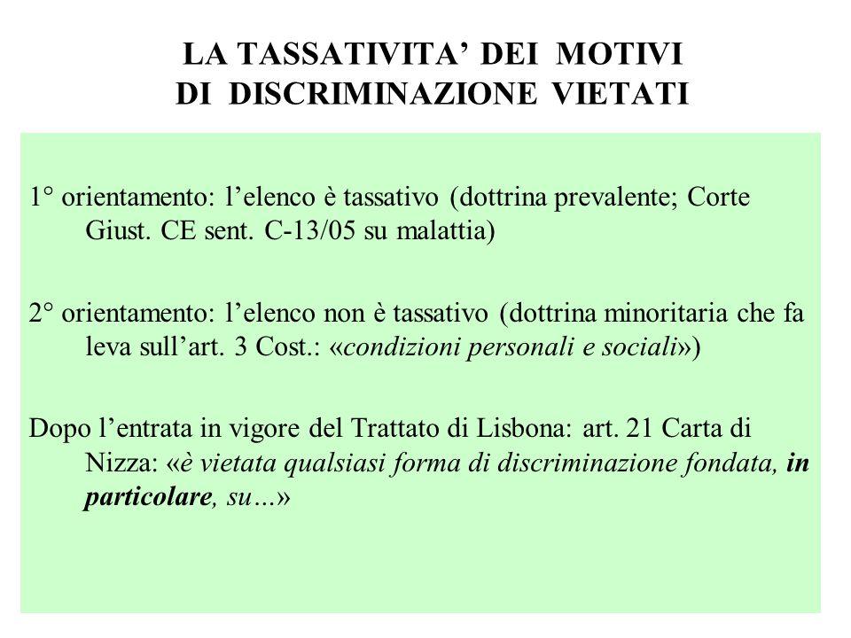 LA TASSATIVITA DEI MOTIVI DI DISCRIMINAZIONE VIETATI 1° orientamento: lelenco è tassativo (dottrina prevalente; Corte Giust. CE sent. C-13/05 su malat