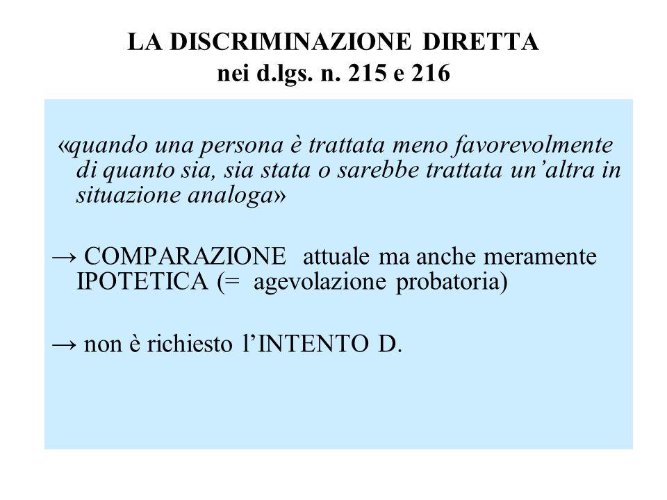 LA DISCRIMINAZIONE DIRETTA nei d.lgs. n. 215 e 216 «quando una persona è trattata meno favorevolmente di quanto sia, sia stata o sarebbe trattata unal