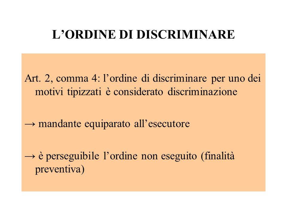 LORDINE DI DISCRIMINARE Art. 2, comma 4: lordine di discriminare per uno dei motivi tipizzati è considerato discriminazione mandante equiparato allese