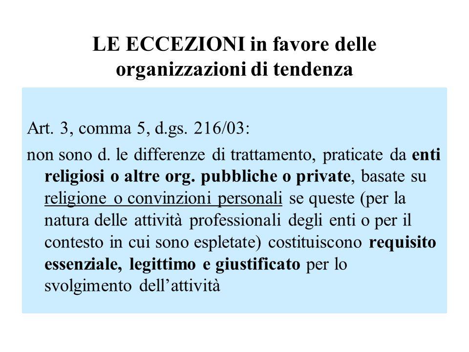 LE ECCEZIONI in favore delle organizzazioni di tendenza Art. 3, comma 5, d.gs. 216/03: non sono d. le differenze di trattamento, praticate da enti rel