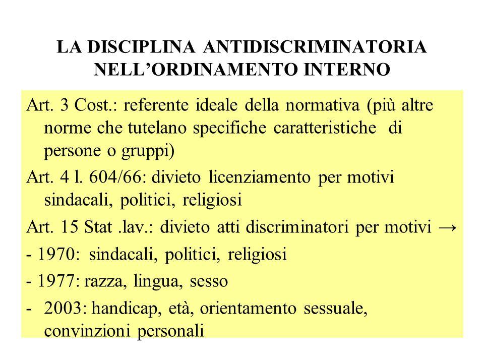 LA DISCIPLINA ANTIDISCRIMINATORIA NELLORDINAMENTO INTERNO Art. 3 Cost.: referente ideale della normativa (più altre norme che tutelano specifiche cara