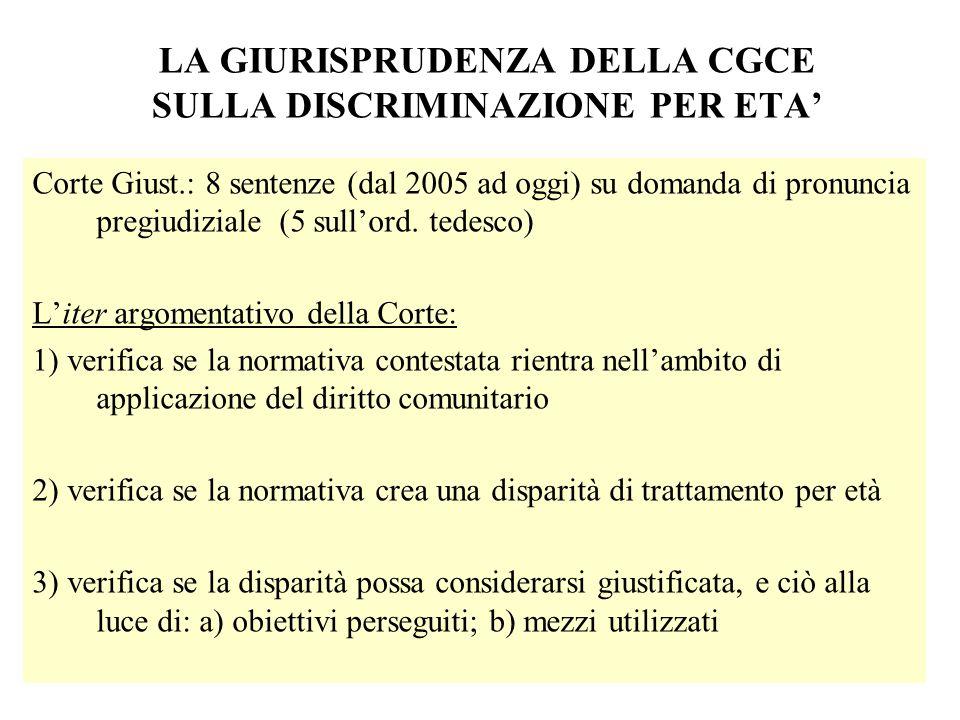 LA GIURISPRUDENZA DELLA CGCE SULLA DISCRIMINAZIONE PER ETA Corte Giust.: 8 sentenze (dal 2005 ad oggi) su domanda di pronuncia pregiudiziale (5 sullor