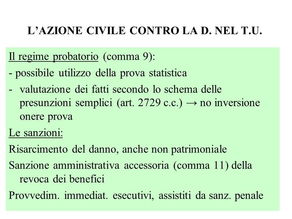 LAZIONE CIVILE CONTRO LA D. NEL T.U. Il regime probatorio (comma 9): - possibile utilizzo della prova statistica -valutazione dei fatti secondo lo sch