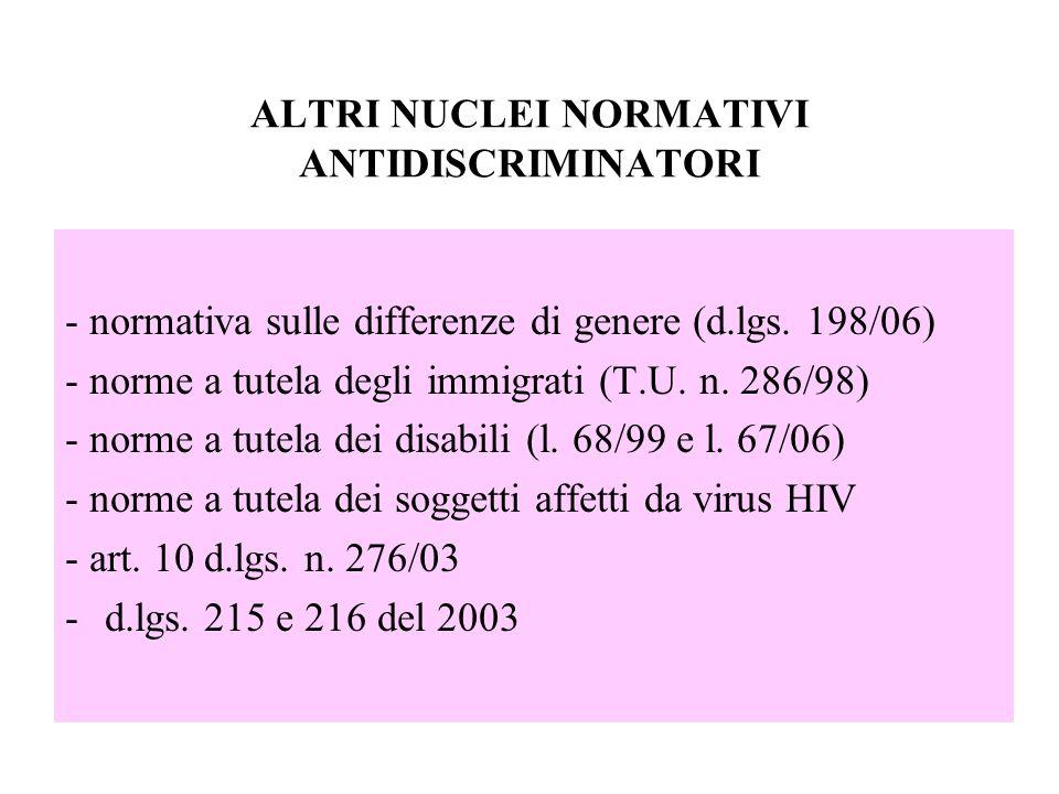 ALTRI NUCLEI NORMATIVI ANTIDISCRIMINATORI - normativa sulle differenze di genere (d.lgs. 198/06) - norme a tutela degli immigrati (T.U. n. 286/98) - n