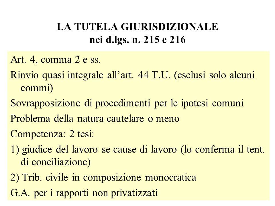 LA TUTELA GIURISDIZIONALE nei d.lgs. n. 215 e 216 Art. 4, comma 2 e ss. Rinvio quasi integrale allart. 44 T.U. (esclusi solo alcuni commi) Sovrapposiz