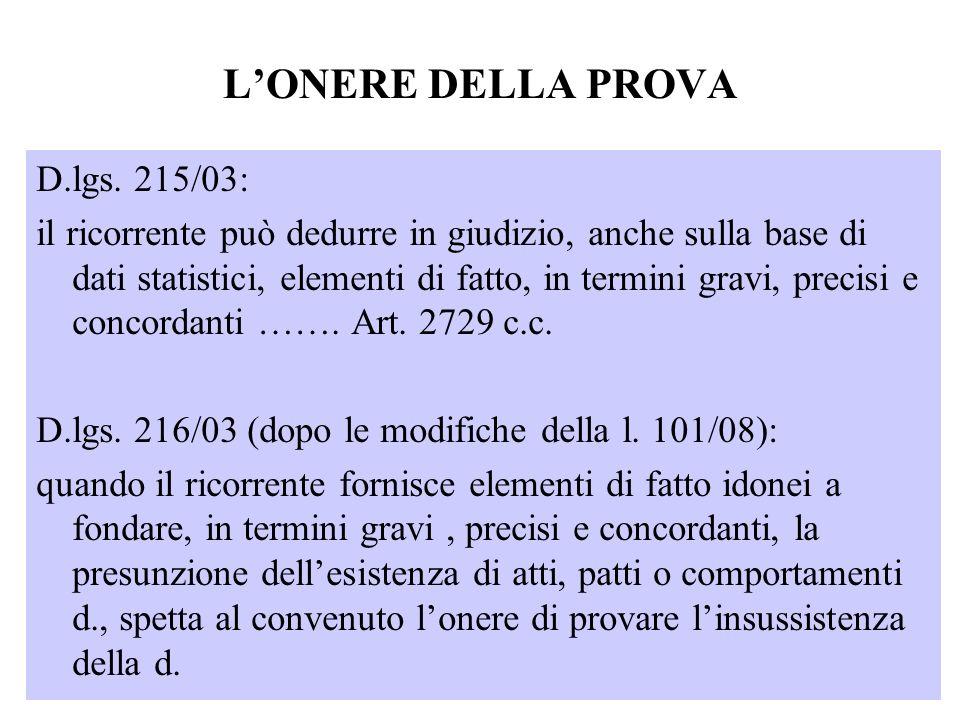 LONERE DELLA PROVA D.lgs. 215/03: il ricorrente può dedurre in giudizio, anche sulla base di dati statistici, elementi di fatto, in termini gravi, pre