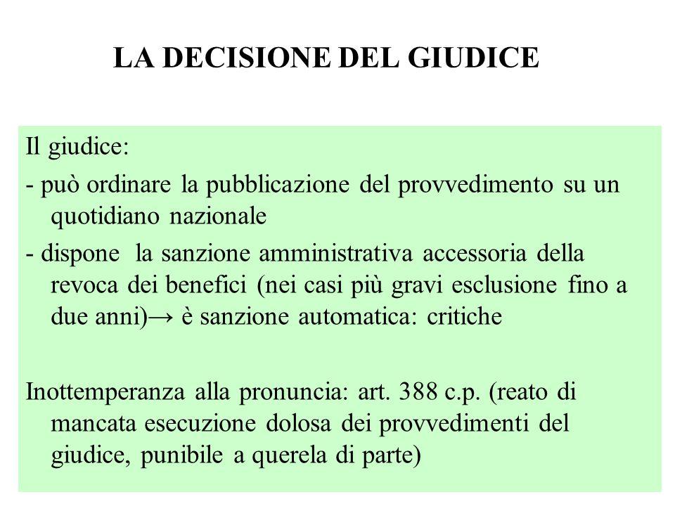 LA DECISIONE DEL GIUDICE Il giudice: - può ordinare la pubblicazione del provvedimento su un quotidiano nazionale - dispone la sanzione amministrativa