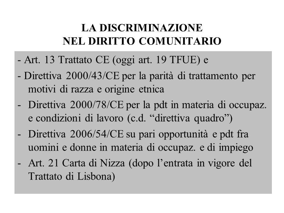 LA DISCRIMINAZIONE NEL DIRITTO COMUNITARIO - Art. 13 Trattato CE (oggi art. 19 TFUE) e - Direttiva 2000/43/CE per la parità di trattamento per motivi