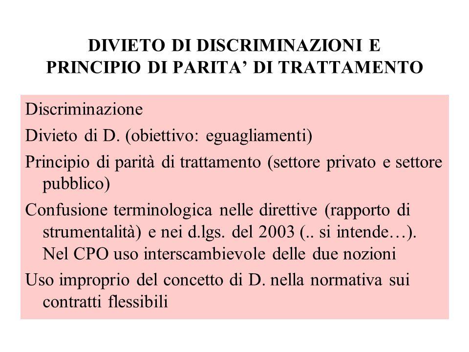 DIVIETO DI DISCRIMINAZIONI E PRINCIPIO DI PARITA DI TRATTAMENTO Discriminazione Divieto di D. (obiettivo: eguagliamenti) Principio di parità di tratta