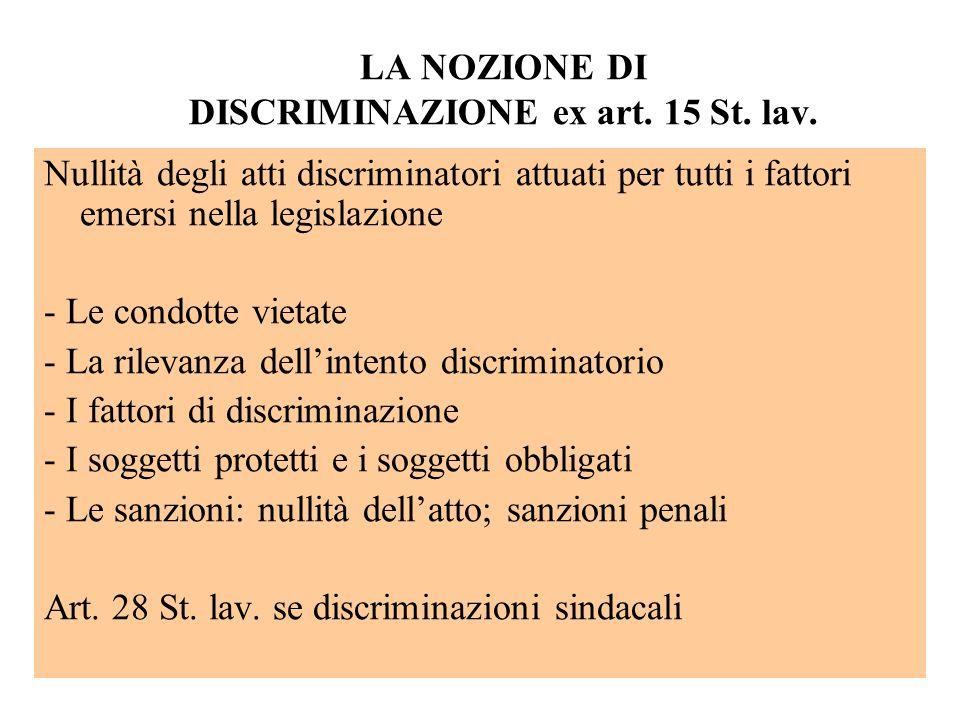 LA NOZIONE DI DISCRIMINAZIONE ex art. 15 St. lav. Nullità degli atti discriminatori attuati per tutti i fattori emersi nella legislazione - Le condott