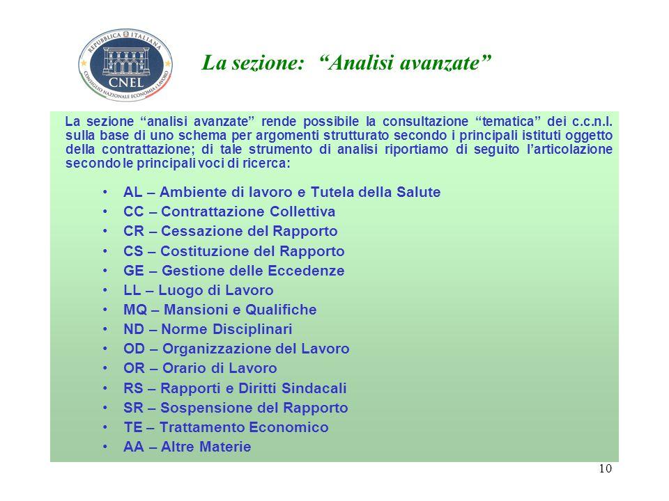10 La sezione: Analisi avanzate La sezione analisi avanzate rende possibile la consultazione tematica dei c.c.n.l.