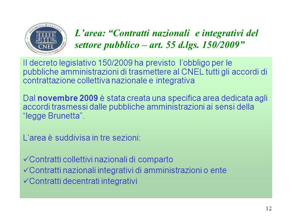 12 Larea: Contratti nazionali e integrativi del settore pubblico – art.