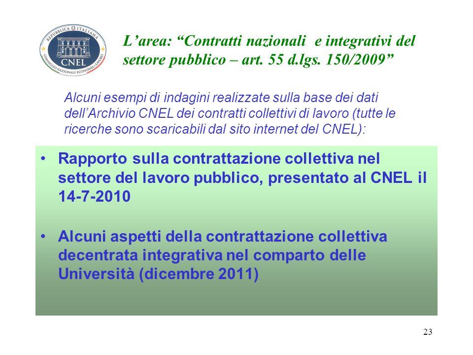 23 Larea: Contratti nazionali e integrativi del settore pubblico – art.