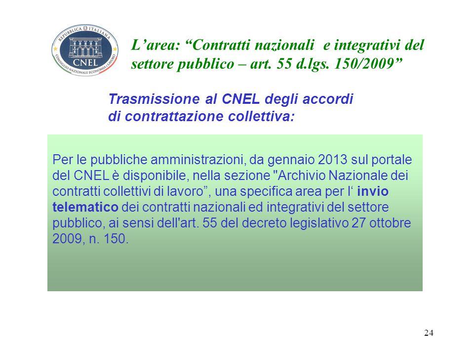24 Larea: Contratti nazionali e integrativi del settore pubblico – art.