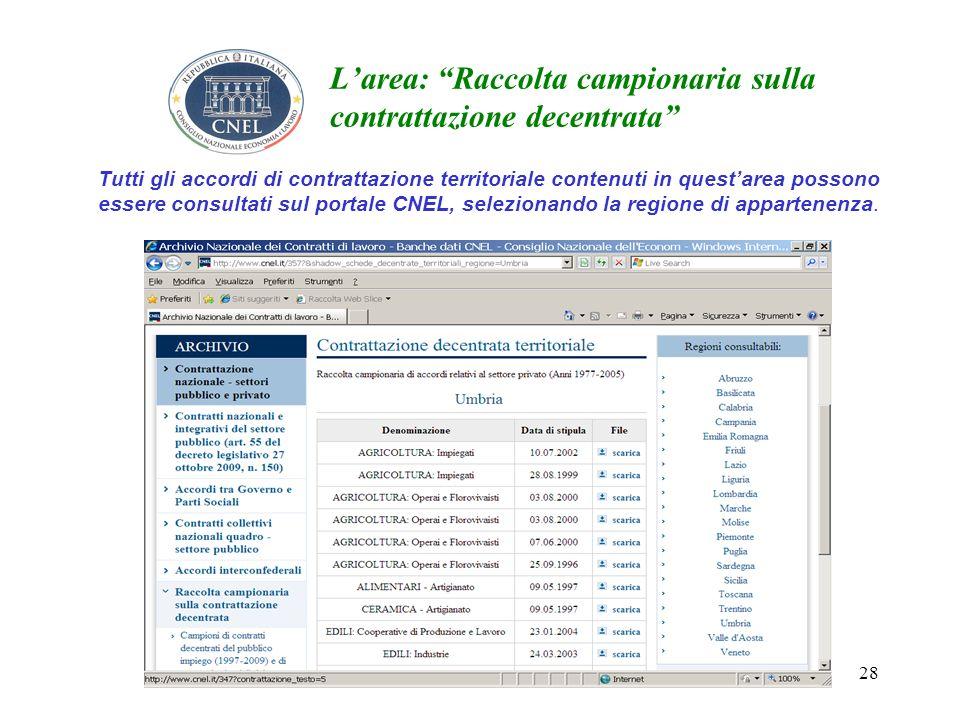 28 Larea: Raccolta campionaria sulla contrattazione decentrata Tutti gli accordi di contrattazione territoriale contenuti in questarea possono essere consultati sul portale CNEL, selezionando la regione di appartenenza.