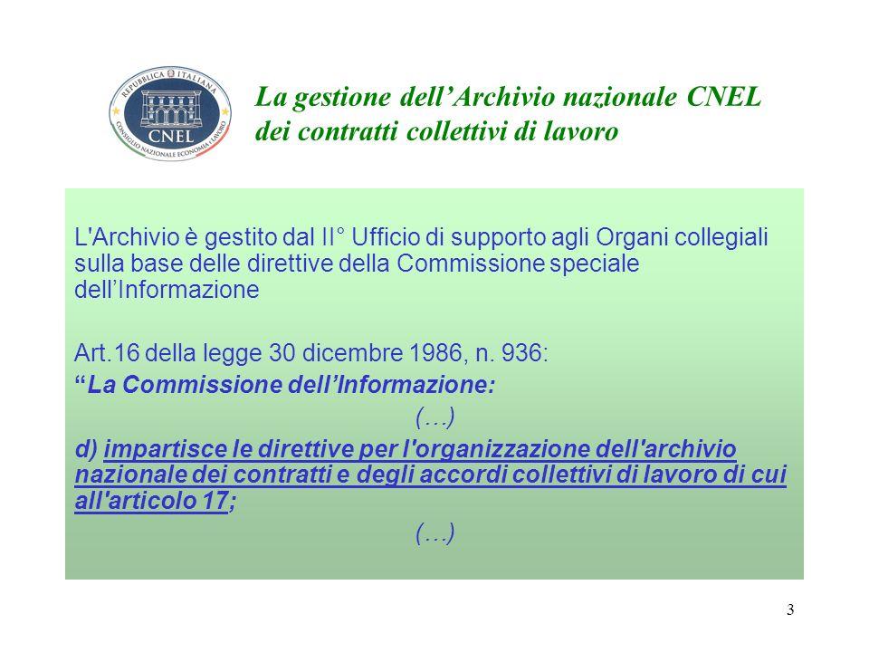 3 La gestione dellArchivio nazionale CNEL dei contratti collettivi di lavoro L Archivio è gestito dal II° Ufficio di supporto agli Organi collegiali sulla base delle direttive della Commissione speciale dellInformazione Art.16 della legge 30 dicembre 1986, n.