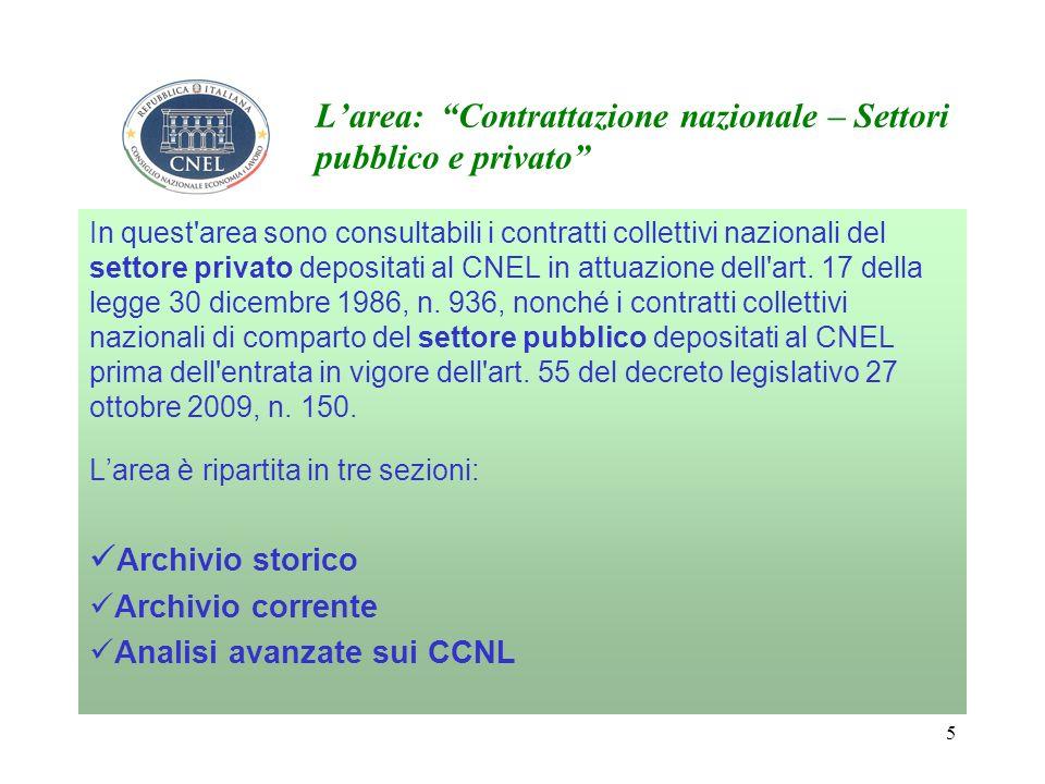 5 Larea: Contrattazione nazionale – Settori pubblico e privato In quest area sono consultabili i contratti collettivi nazionali del settore privato depositati al CNEL in attuazione dell art.