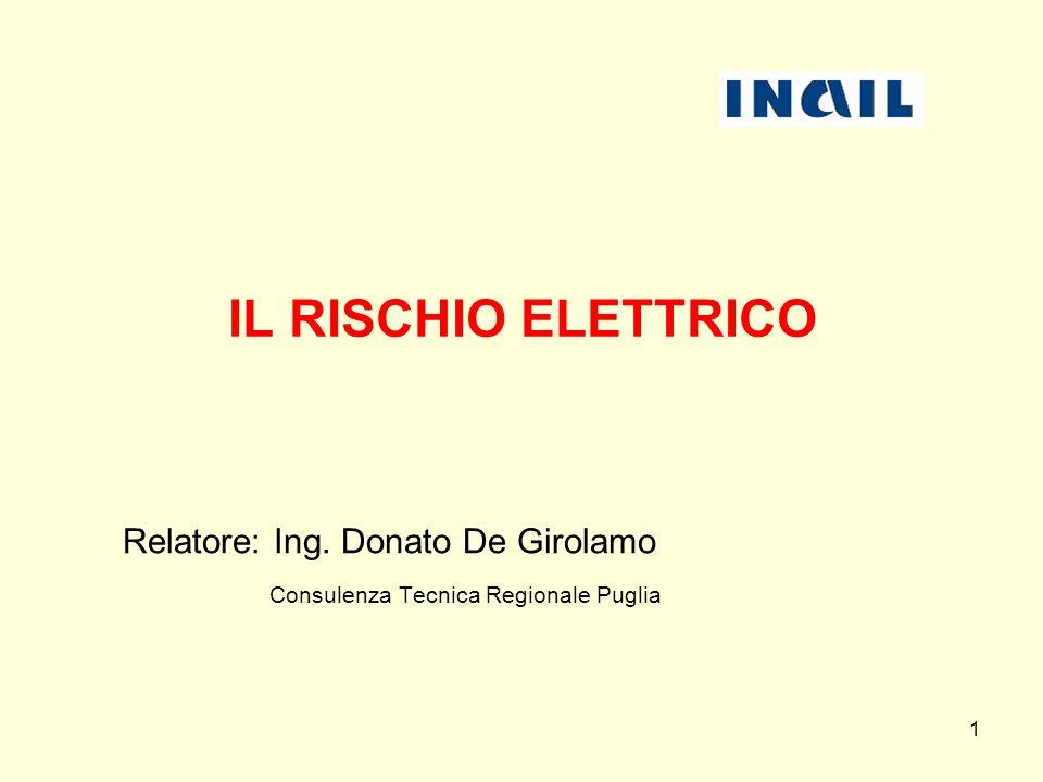 IL RISCHIO ELETTRICO Relatore: Ing. Donato De Girolamo Consulenza Tecnica Regionale Puglia 1