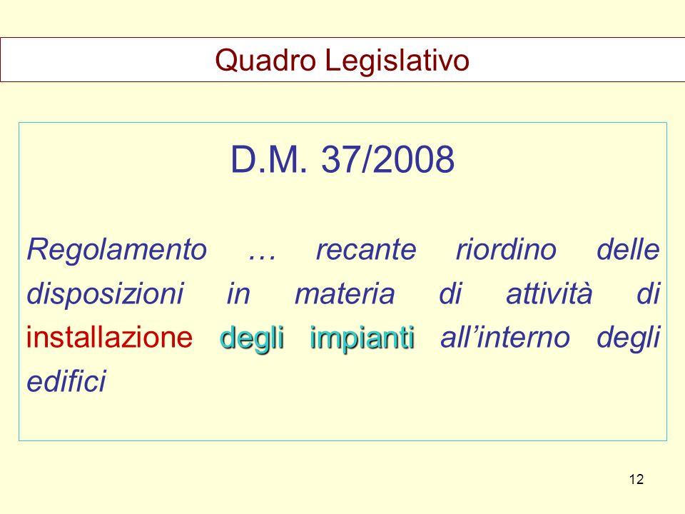 D.M. 37/2008 degli impianti Regolamento … recante riordino delle disposizioni in materia di attività di installazione degli impianti allinterno degli