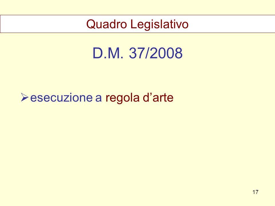 D.M. 37/2008 esecuzione a regola darte Quadro Legislativo 17