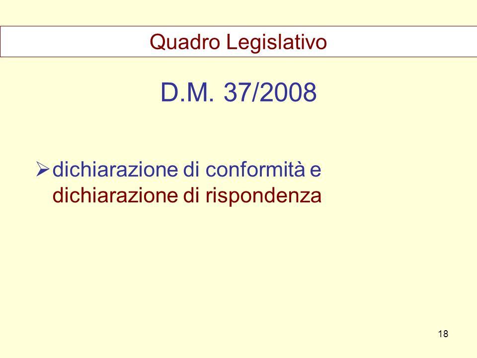 D.M. 37/2008 dichiarazione di conformità e dichiarazione di rispondenza Quadro Legislativo 18