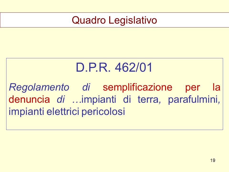 D.P.R. 462/01 Regolamento di semplificazione per la denuncia di …impianti di terra, parafulmini, impianti elettrici pericolosi Quadro Legislativo 19