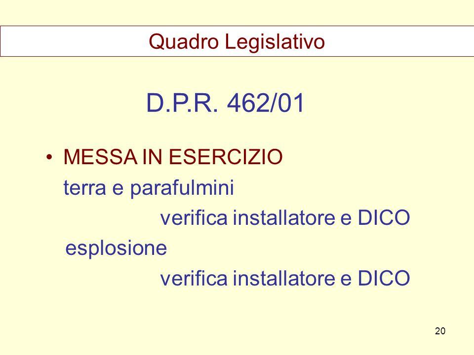 D.P.R. 462/01 MESSA IN ESERCIZIO terra e parafulmini verifica installatore e DICO esplosione verifica installatore e DICO Quadro Legislativo 20