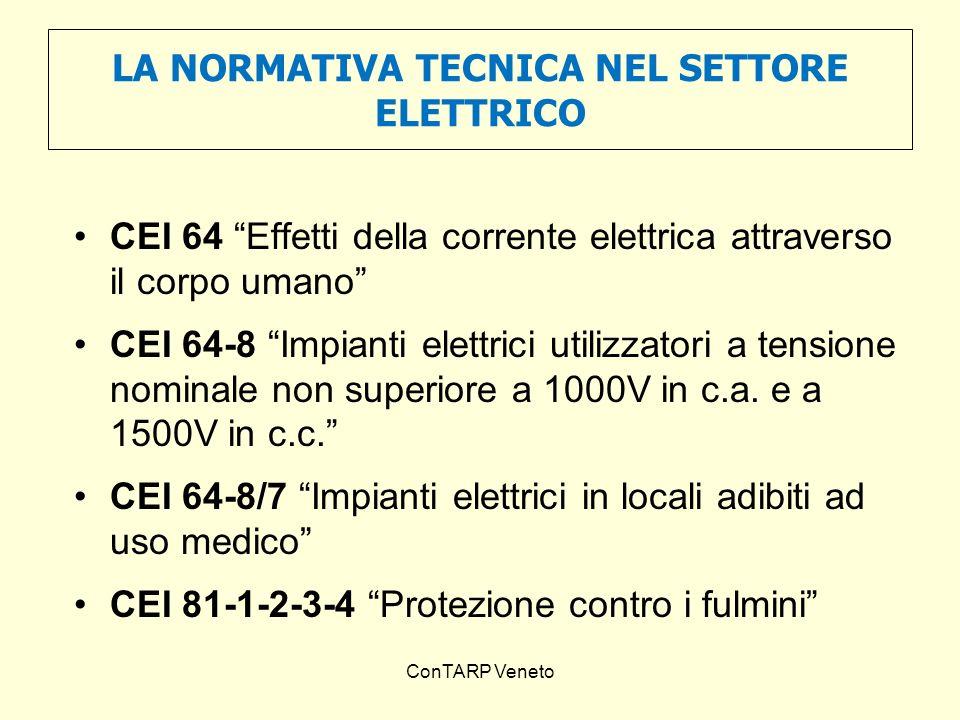 ConTARP Veneto LA NORMATIVA TECNICA NEL SETTORE ELETTRICO CEI 64 Effetti della corrente elettrica attraverso il corpo umano CEI 64-8 Impianti elettric