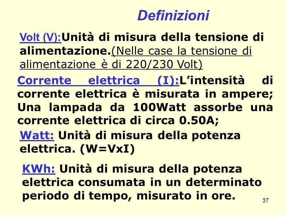 Definizioni Volt (V): Unità di misura della tensione di alimentazione.(Nelle case la tensione di alimentazione è di 220/230 Volt) Corrente elettrica (
