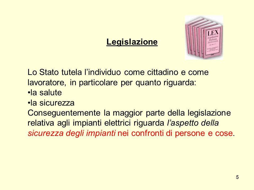 Legislazione Lo Stato tutela lindividuo come cittadino e come lavoratore, in particolare per quanto riguarda: la salute la sicurezza Conseguentemente