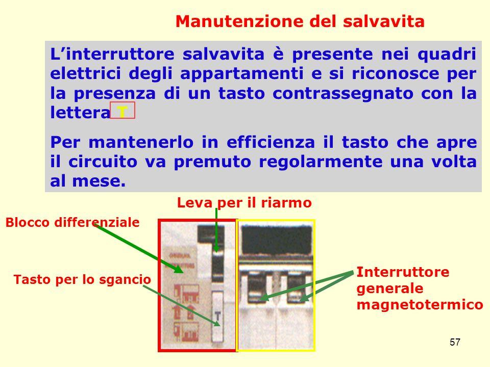Manutenzione del salvavita Linterruttore salvavita è presente nei quadri elettrici degli appartamenti e si riconosce per la presenza di un tasto contr