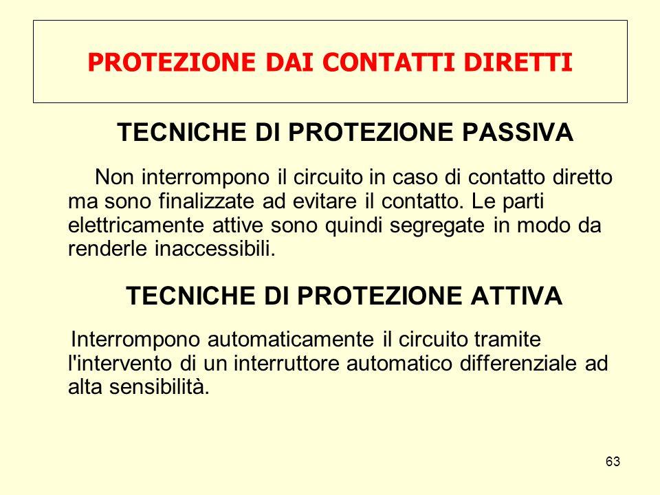PROTEZIONE DAI CONTATTI DIRETTI TECNICHE DI PROTEZIONE PASSIVA Non interrompono il circuito in caso di contatto diretto ma sono finalizzate ad evitare