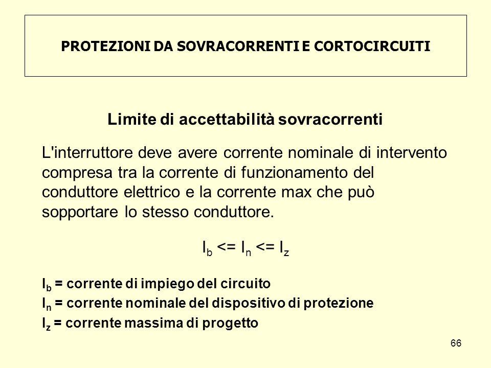 PROTEZIONI DA SOVRACORRENTI E CORTOCIRCUITI Limite di accettabilità sovracorrenti L'interruttore deve avere corrente nominale di intervento compresa t