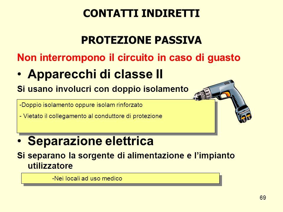 CONTATTI INDIRETTI PROTEZIONE PASSIVA Non interrompono il circuito in caso di guasto Apparecchi di classe II Si usano involucri con doppio isolamento