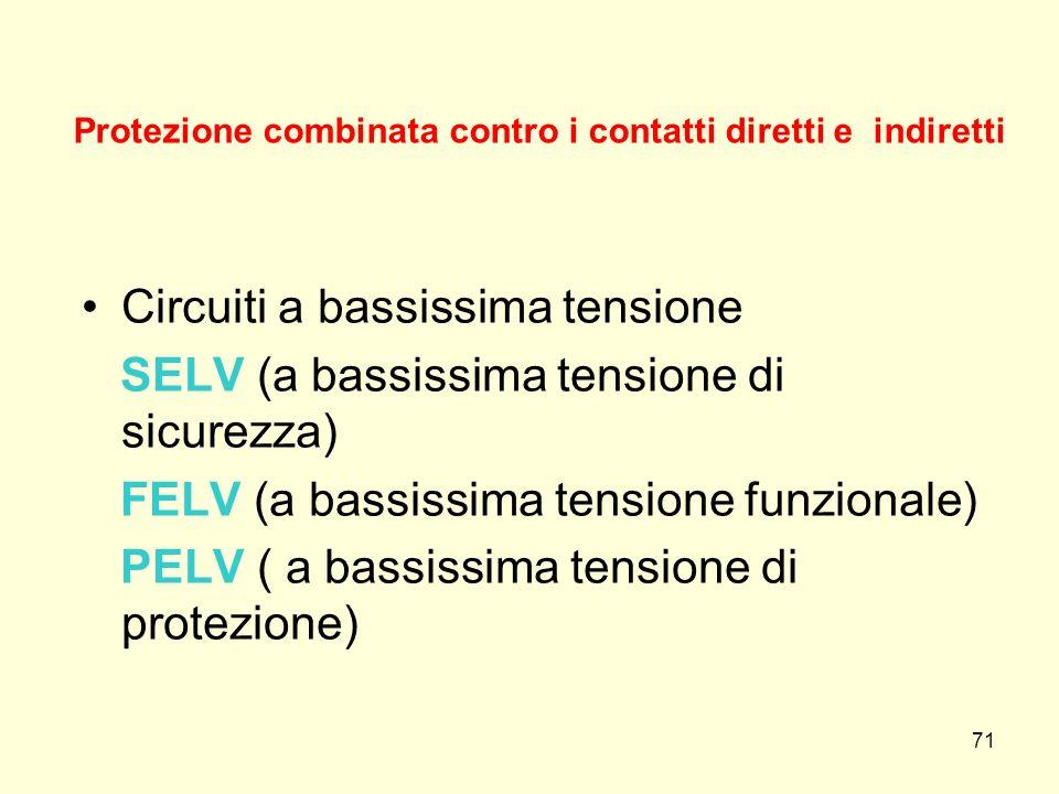 Protezione combinata contro i contatti diretti e indiretti Circuiti a bassissima tensione SELV (a bassissima tensione di sicurezza) FELV (a bassissima