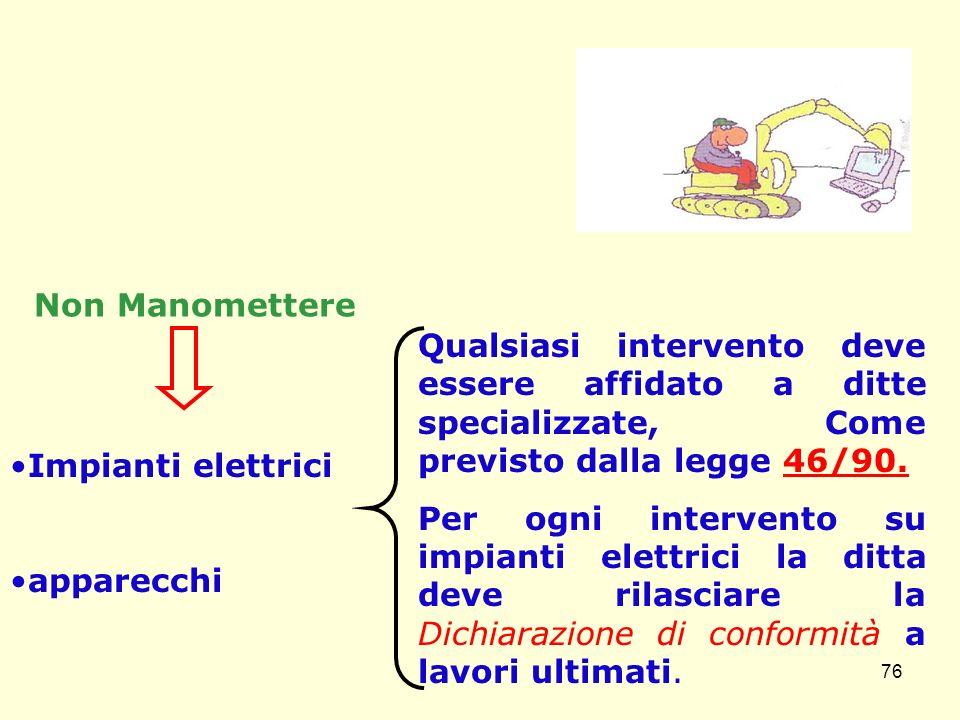 Non Manomettere Impianti elettrici apparecchi Qualsiasi intervento deve essere affidato a ditte specializzate, Come previsto dalla legge 46/90. Per og