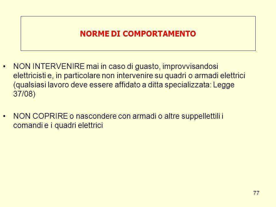 NON INTERVENIRE mai in caso di guasto, improvvisandosi elettricisti e, in particolare non intervenire su quadri o armadi elettrici (qualsiasi lavoro d