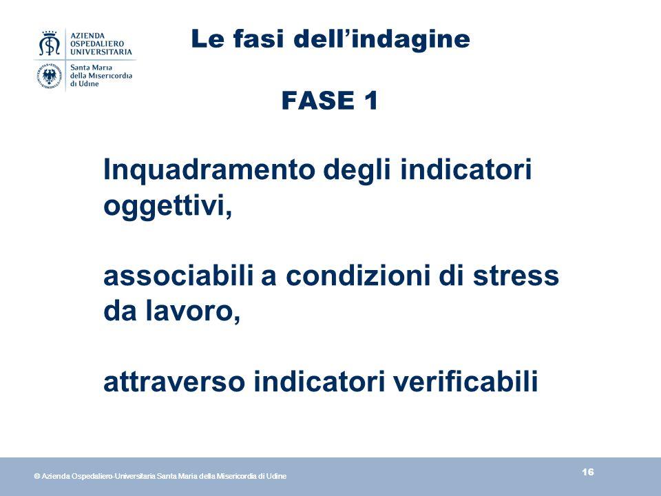 16 © Azienda Ospedaliero-Universitaria Santa Maria della Misericordia di Udine Le fasi dell indagine FASE 1 Inquadramento degli indicatori oggettivi, associabili a condizioni di stress da lavoro, attraverso indicatori verificabili
