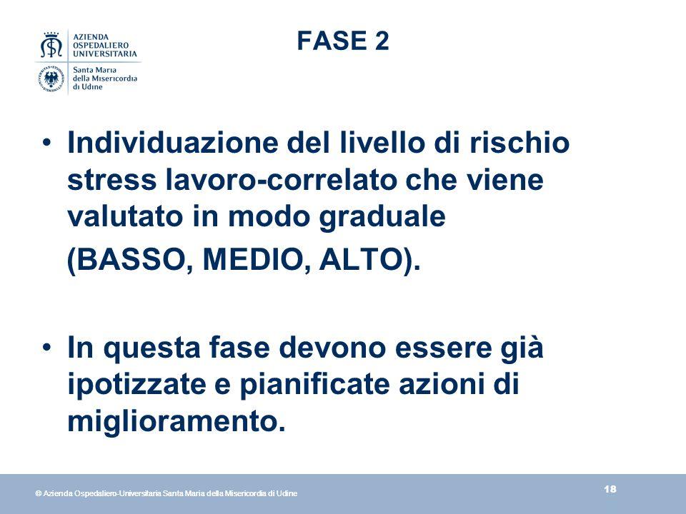 18 © Azienda Ospedaliero-Universitaria Santa Maria della Misericordia di Udine FASE 2 Individuazione del livello di rischio stress lavoro-correlato che viene valutato in modo graduale (BASSO, MEDIO, ALTO).