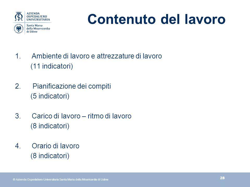 28 © Azienda Ospedaliero-Universitaria Santa Maria della Misericordia di Udine Contenuto del lavoro 1.Ambiente di lavoro e attrezzature di lavoro (11 indicatori) 2.