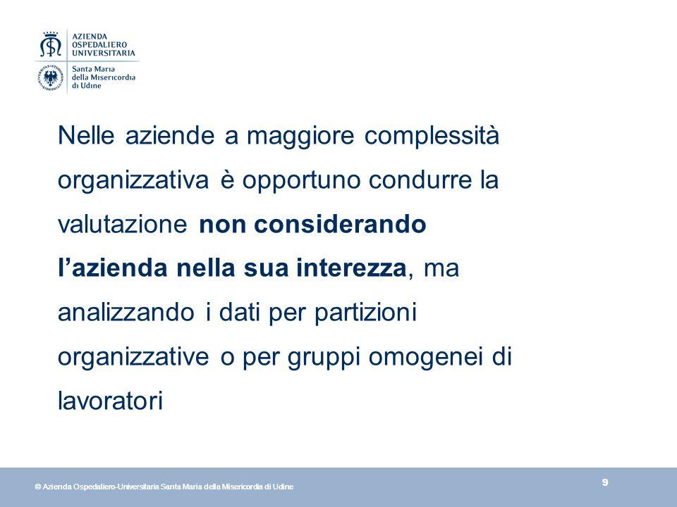 9 © Azienda Ospedaliero-Universitaria Santa Maria della Misericordia di Udine Nelle aziende a maggiore complessità organizzativa è opportuno condurre la valutazione non considerando lazienda nella sua interezza, ma analizzando i dati per partizioni organizzative o per gruppi omogenei di lavoratori
