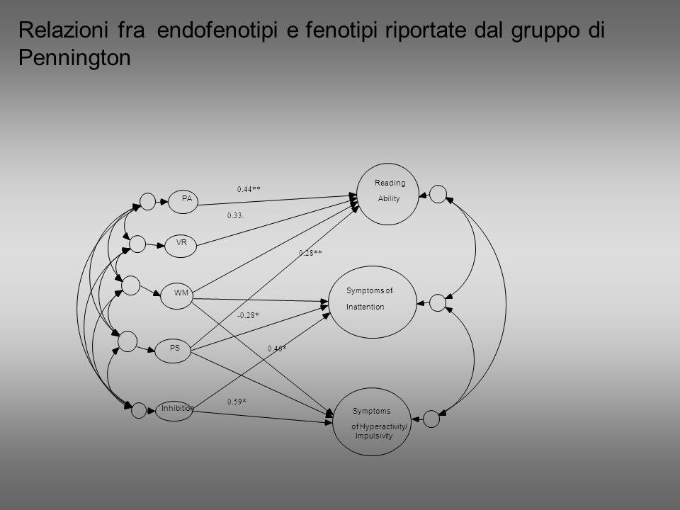 Relazioni fra endofenotipi e fenotipi riportate dal gruppo di Pennington